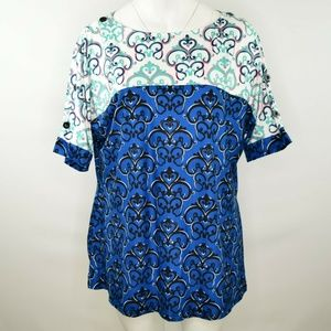 Reborn Patterned Button Shoulder Tunic Top 1X NWT